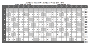 Homeschool Attendance Calendar Report